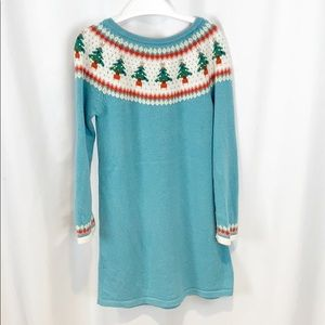 Mini Boden Turquoise Christmas Dress 5-6